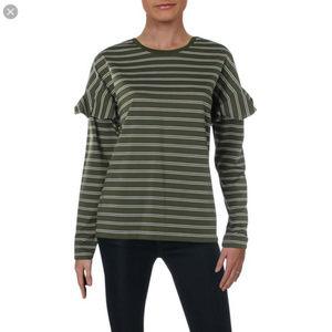 Ralph Lauren NWT Green Striped Ruffle Sleeve Top